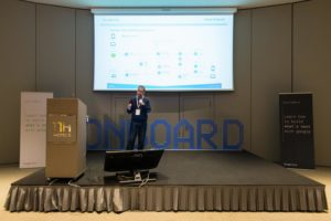Michele Marzan, CSO, on stage at Google Cloud OnBoard Milan